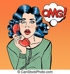Shocked Young Woman Talking on the Phone. Pop Art