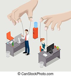 Isometric People. Office Puppets, Controlled Workers. Vector illustration