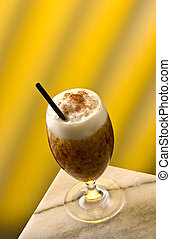 Cappuccino Frappe with choco flakes and black straw