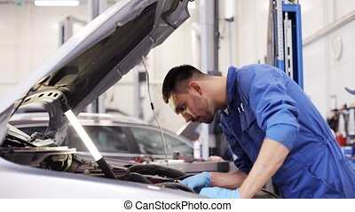 mechanic man with wrench repairing car at workshop 12 - car...