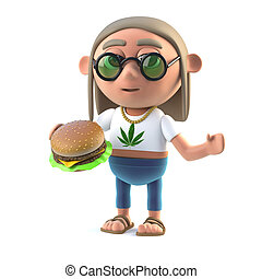 3d Hippy stoner eating a burger - 3d render of a long haired...