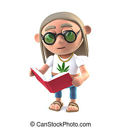 3d Hippie stoner reads a good book - 3d render of a long...
