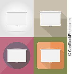 projection screen flat icons illustration isolated on...