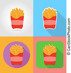 fried potatoes fast food flat icons with the shadow...