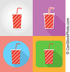 soda in a paper cup fast food flat icons with the shadow...