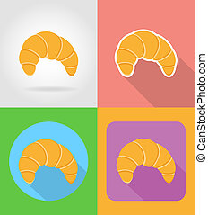 croissant fast food flat icons with the shadow illustration...
