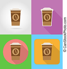 coffee in a paper cup fast food flat icons with the shadow...