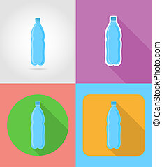 mineral water in a plastic bottle fast food flat icons with...