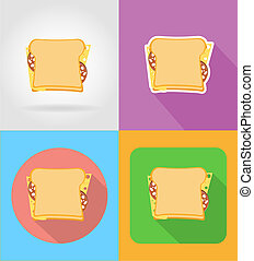 sandwich fast food flat icons with the shadow illustration...