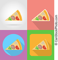 pizza fast food flat icons with the shadow illustration...