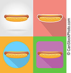 hot-dog fast food flat icons with the shadow illustration...