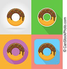 donut fast food flat icons with the shadow illustration...