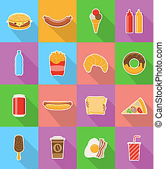 fast food flat icons with the shadow illustration isolated...