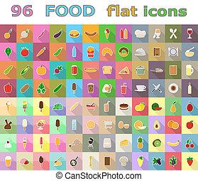 food flat icons illustration isolated on background