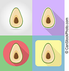 avocado fruits flat set icons with the shadow illustration