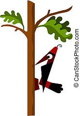 woodpecker sitting on a green leaf tree - comic woodpecker...