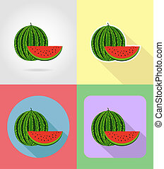 watermelon fruits flat set icons with the shadow...