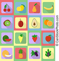 fruits flat set icons with the shadow illustration isolated...