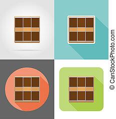 wardrobe furniture set flat icons illustration isolated on...