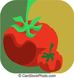 Fresh tomatos on green background
