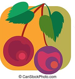 Illustration of two cherries fruit with leafs