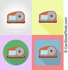 slicer household appliances for kitchen flat icons...