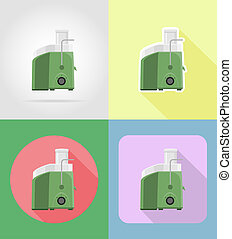 juicer household appliances for kitchen flat icons...