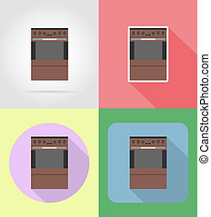 stove household appliances for kitchen flat icons...