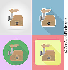 meat grinder household appliances for kitchen flat icons...
