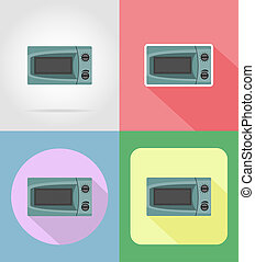 microwave household appliances for kitchen flat icons...