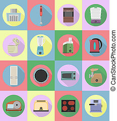 household appliances for kitchen flat icons illustration...