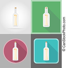 message in the bottle flat icons illustration isolated on...