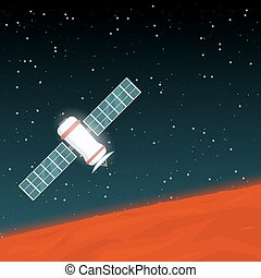 Mars space probe - Space probe flying in space near red...