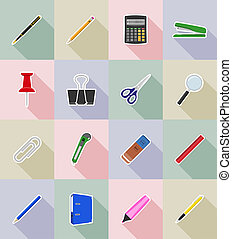 stationery equipment set flat icons illustration