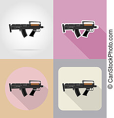 modern weapon firearms flat icons illustration isolated on...