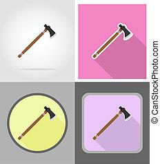 tomahawk wild west flat icons illustration isolated on...