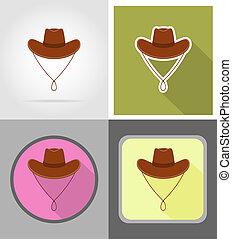 vaquero, sombrero, salvaje, oeste, plano, iconos,...