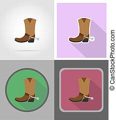 plano, vaquero, oeste, iconos, Ilustración, botas, salvaje