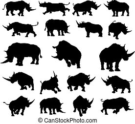 Rhino Animal Silhouettes - A set of rhino or rhinoceros...