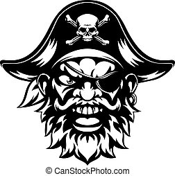 Pirate Sports Mascot - An illustration of a mean looking...