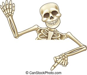 Pointing and Waving Cartoon Skeleton - A skeleton cartoon...