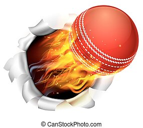 Flaming Cricket Ball Tearing a Hole in the Background - An...