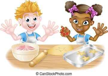 Cartoon Children Bakers Baking - Boy and girl kids, one...