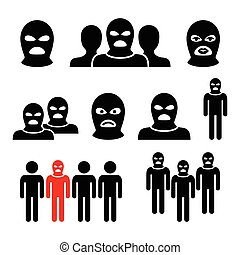 Terrorist group, dangerous people - Vector icons set -...