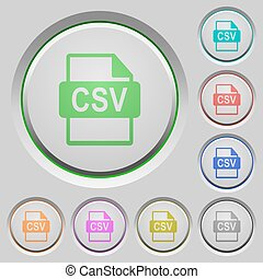 CSV file format push buttons - Set of color CSV file format...