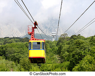 aerial ropeway cabin - empty aerial ropeway cabin going from...