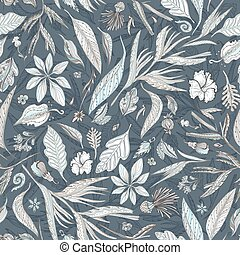Pastel and Indigo Floral Texture - Seamless vector pattern...