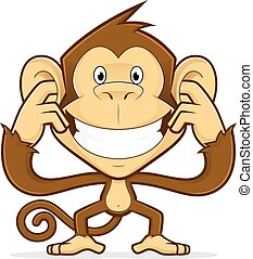 Monkey closing his ears - Clipart picture of a monkey...