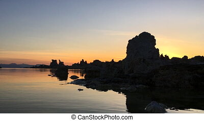 Mono Lake Sunrise Steady Shot - Sun Rising Behind South Tufa...