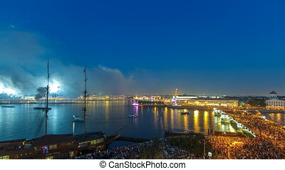 "Fireworks timelapse over the city of St. Petersburg Russia on the feast of ""Scarlet Sails"", view from roof."